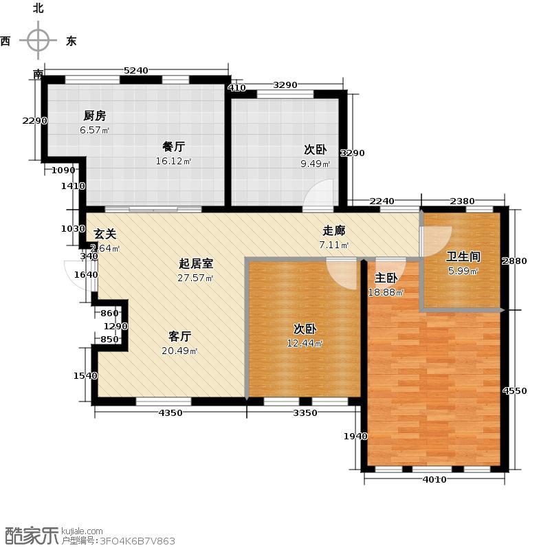 听涛苑101.00㎡B5户型3室2厅1卫