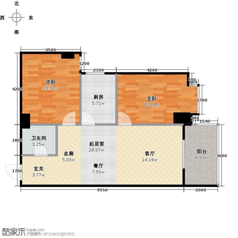 御笔华府92.90㎡在售6D客厅连双面采光阳台主卧飘窗户型2室1卫1厨