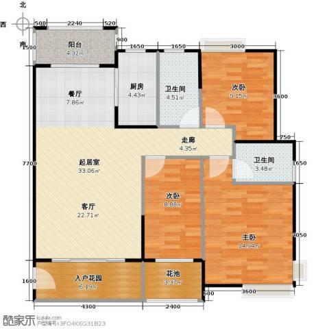 龙湾新城3室2厅2卫0厨109.00㎡户型图