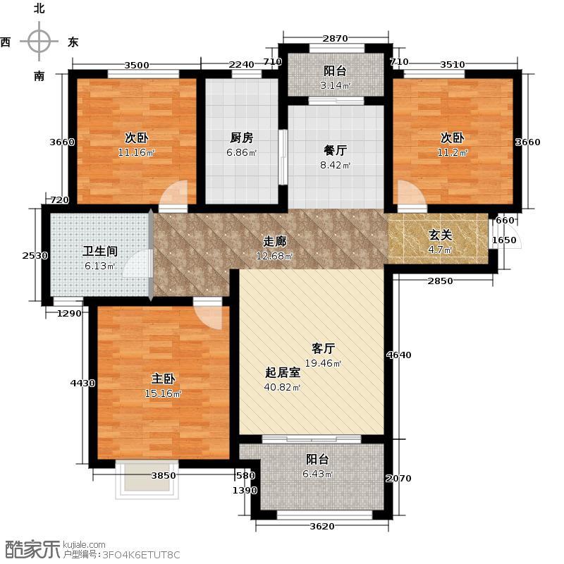 新里梵尔赛公馆107.00㎡户型3室2厅1卫