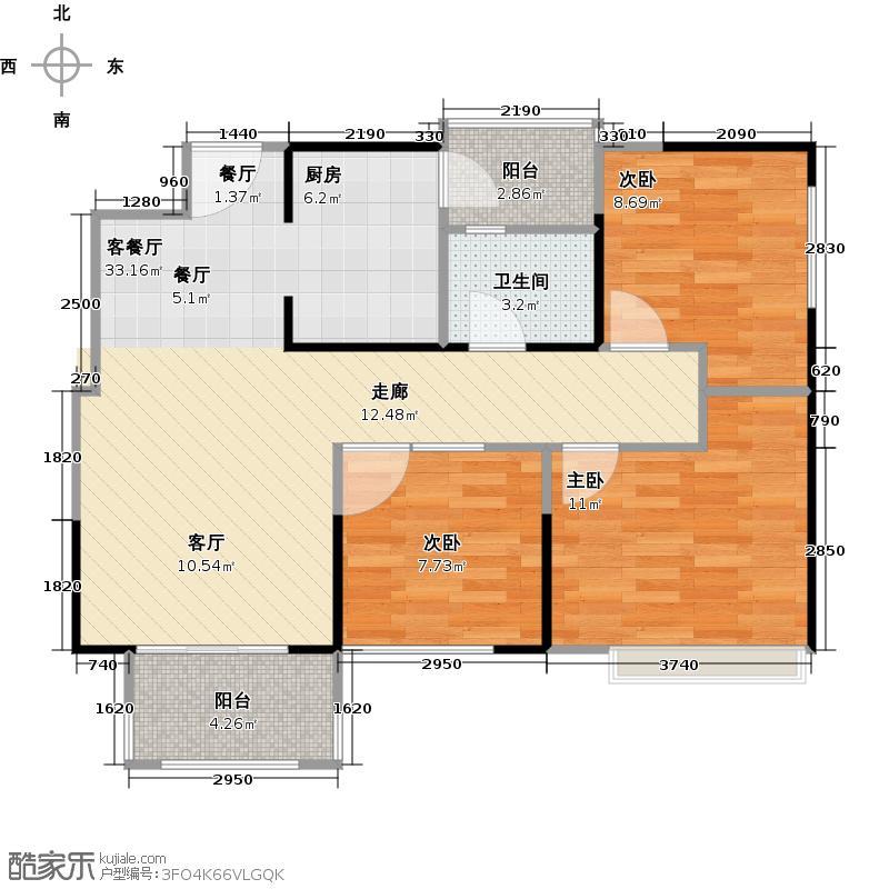 华宇天府花城82.40㎡1栋5号房户型3室2厅1卫