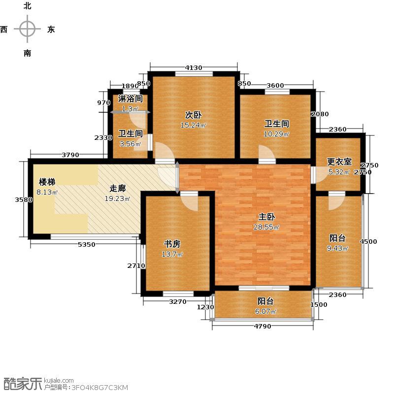 珠江紫宸山128.18㎡K04三层户型10室