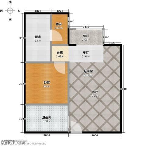 国际E庄1室1厅1卫0厨55.00㎡户型图