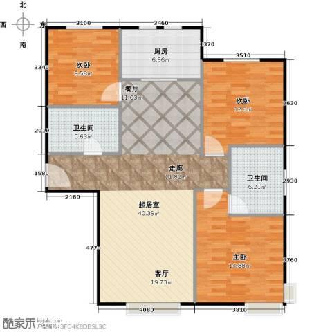 中信府・世家3室2厅2卫0厨129.00㎡户型图