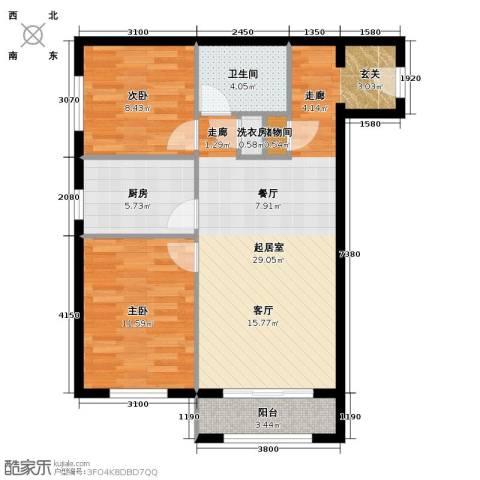 塞纳维拉・永定华庭2室2厅1卫0厨89.00㎡户型图