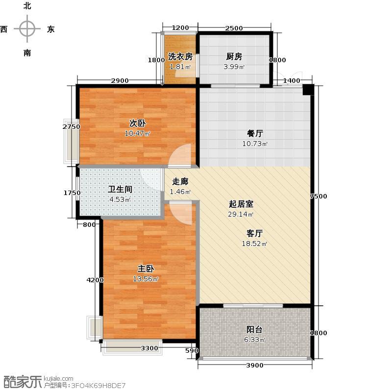 兆麟锦桦豪庭88.00㎡B户型2室2厅1卫