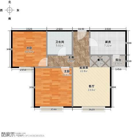 中信府・世家2室2厅1卫0厨84.00㎡户型图