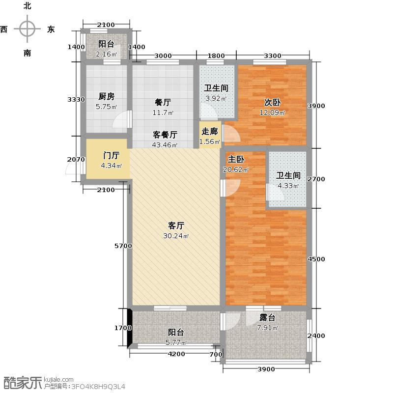 琴湖湾(东方太阳城Ⅲ)129.00㎡B34二层户型10室