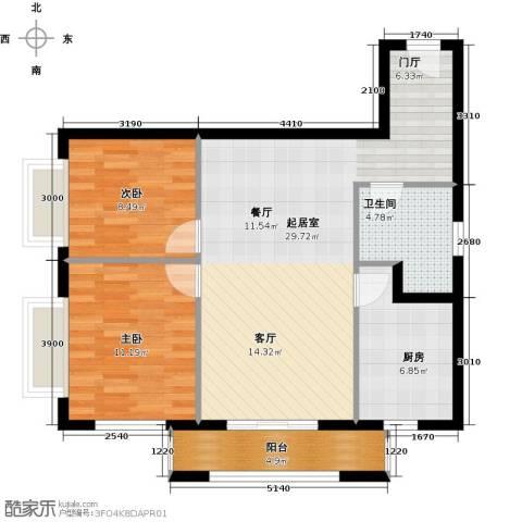 塞纳维拉・永定华庭2室2厅1卫0厨92.00㎡户型图