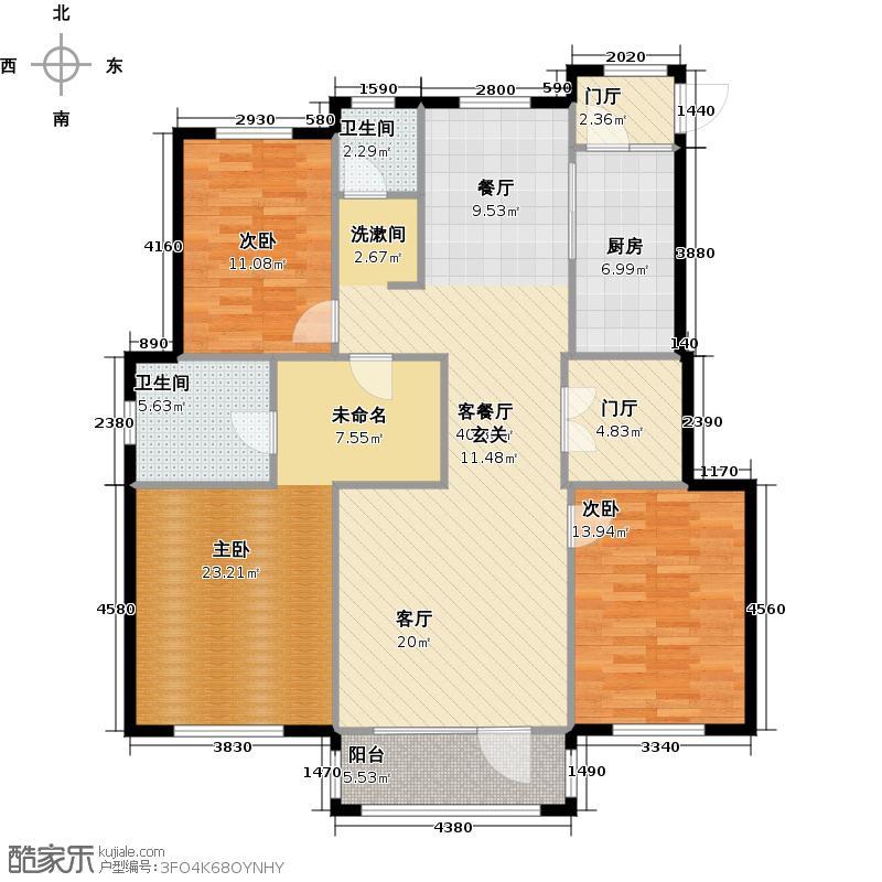 红星海世界观140.00㎡海麓17#地小高层户型3室1厅2卫1厨