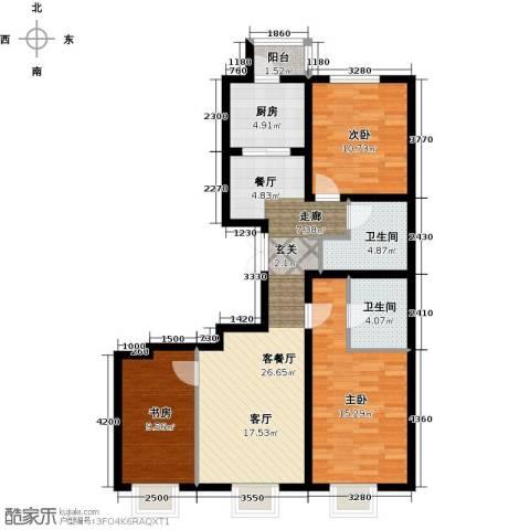 京投银泰・公园悦府3室2厅2卫0厨114.00㎡户型图