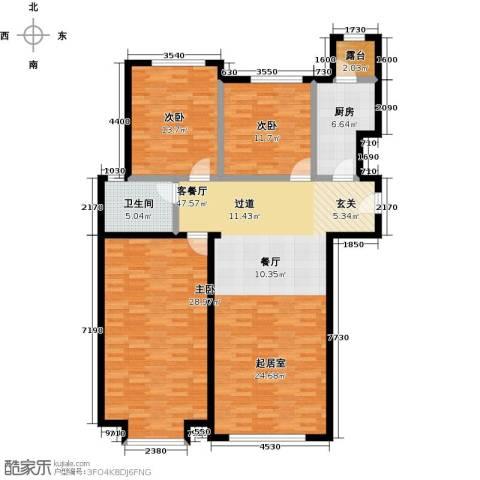 融科钧廷二期3室2厅2卫0厨130.00㎡户型图