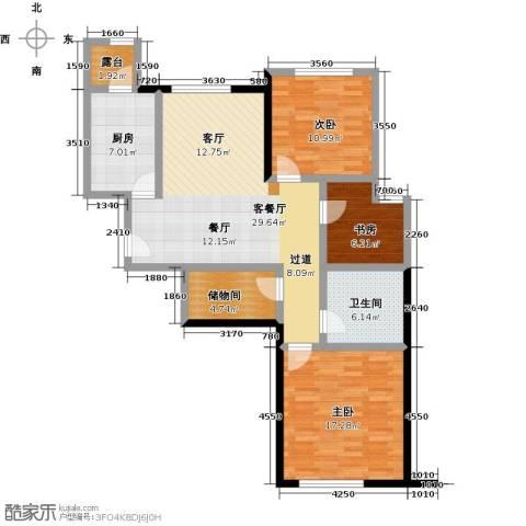 融科钧廷二期3室2厅1卫0厨97.00㎡户型图