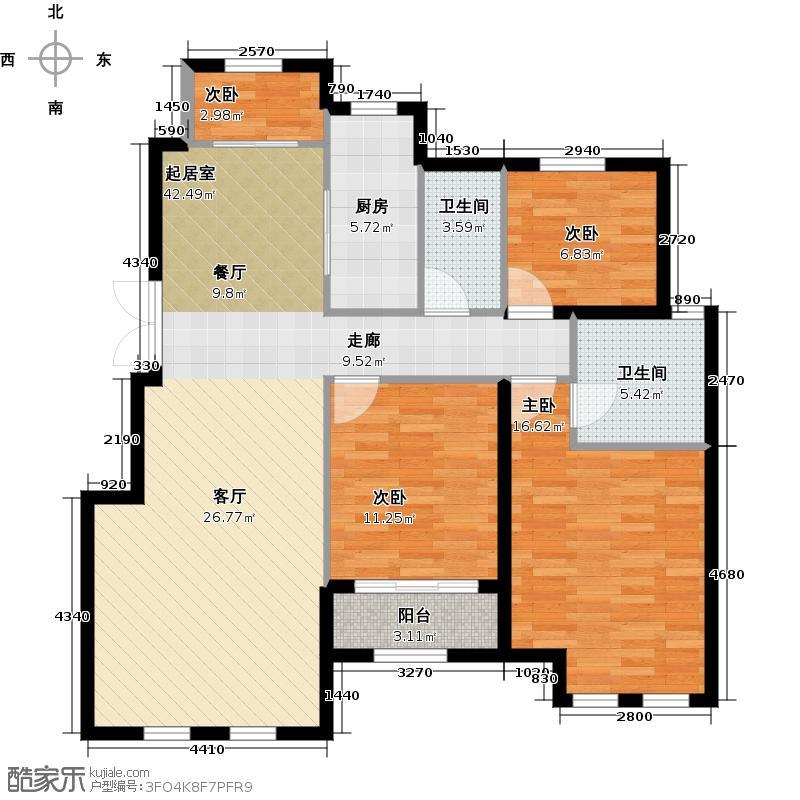 金宝・院著122.00㎡甲E2户型3室2厅2卫