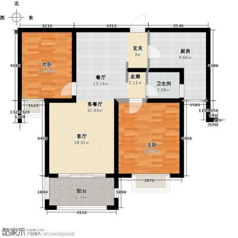 澜调国际2室2厅1卫0厨95.00㎡户型图