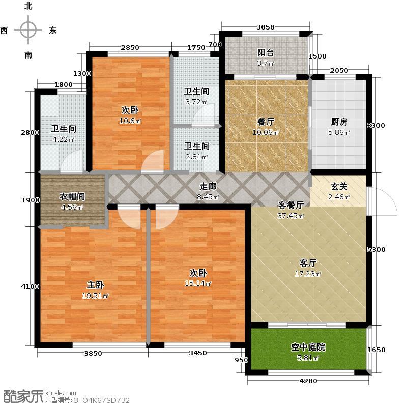 金地圣爱米伦133.00㎡高层C-1户型3室2厅2卫