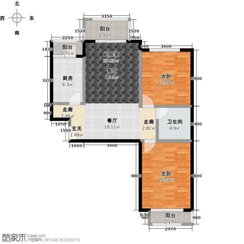 源盛嘉禾107.88㎡高层15号楼F户型2室2厅1卫