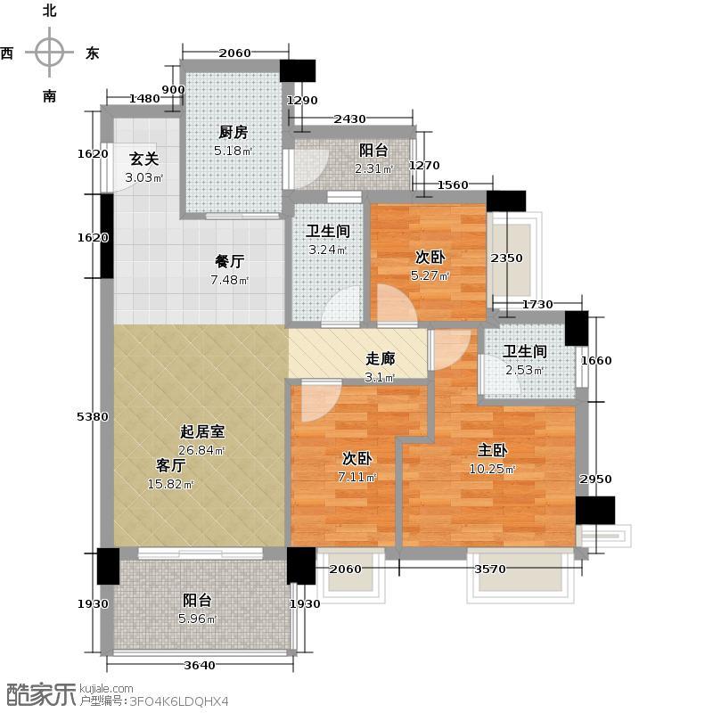 都市品格97.67㎡A1-01单元3-7层户型3室2厅2卫