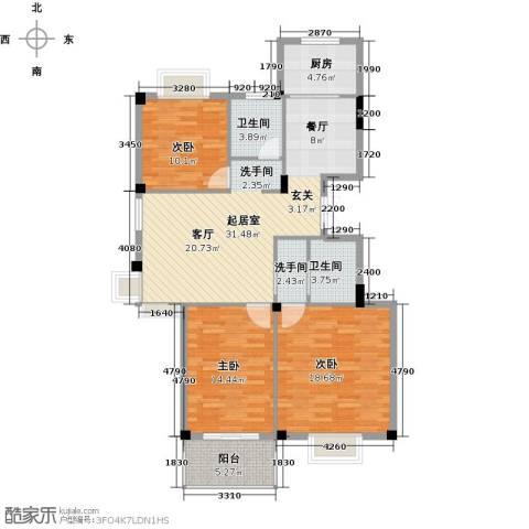 天力百好锦园3室2厅2卫0厨140.00㎡户型图