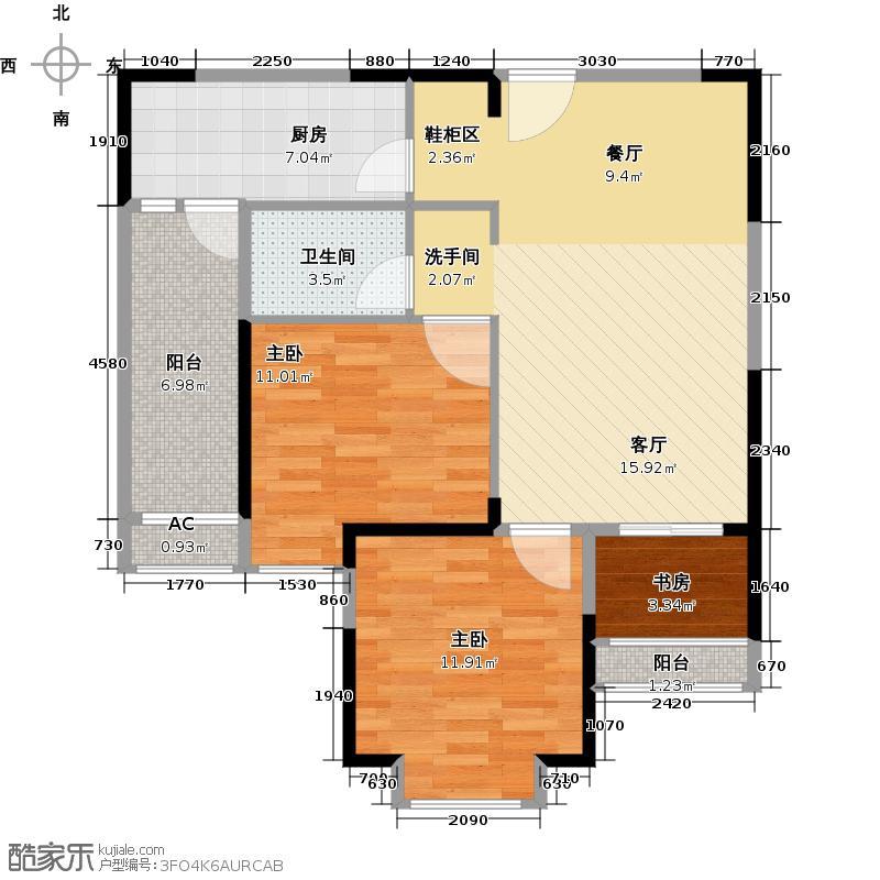 东原时光道84.00㎡2A户型3室1卫1厨