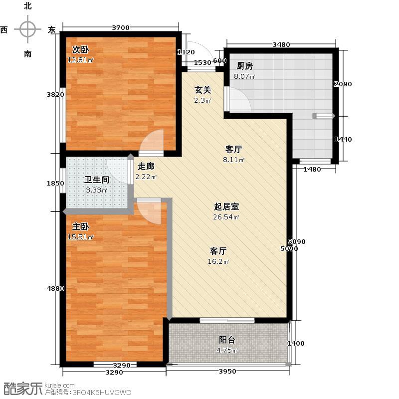 锦湖金利花园90.65㎡三期8号楼-05户型2室1卫1厨