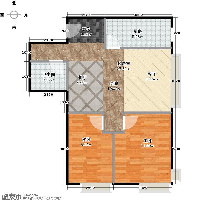 中国铁建・国际城・8号81.00㎡2―7户型2室2厅1卫