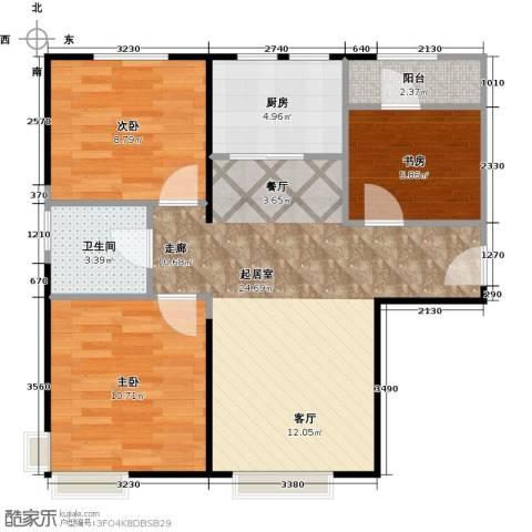 中信府・世家3室2厅1卫0厨86.00㎡户型图