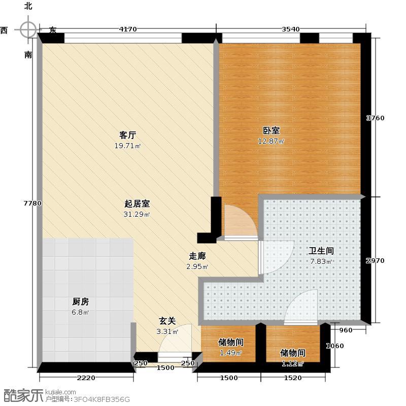 优筑国际中心83.39㎡E户型10室