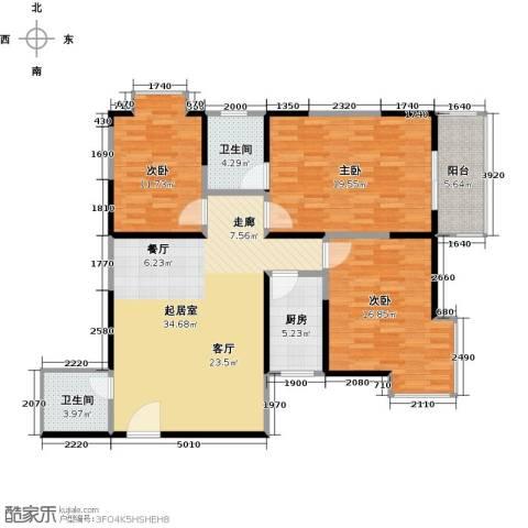 晟方佳苑3室0厅2卫1厨114.00㎡户型图