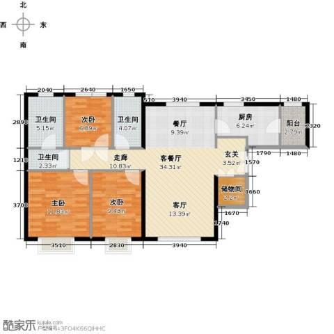 天津津南新城3室2厅2卫0厨120.00㎡户型图