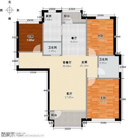 红星海世界观3室1厅2卫1厨101.78㎡户型图