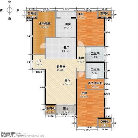 华远君城3室2厅1卫0厨144.00㎡户型图