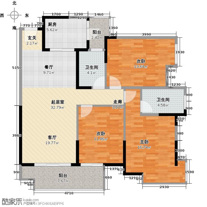 保利麓谷林语121.00㎡D1'户型3室2厅2卫