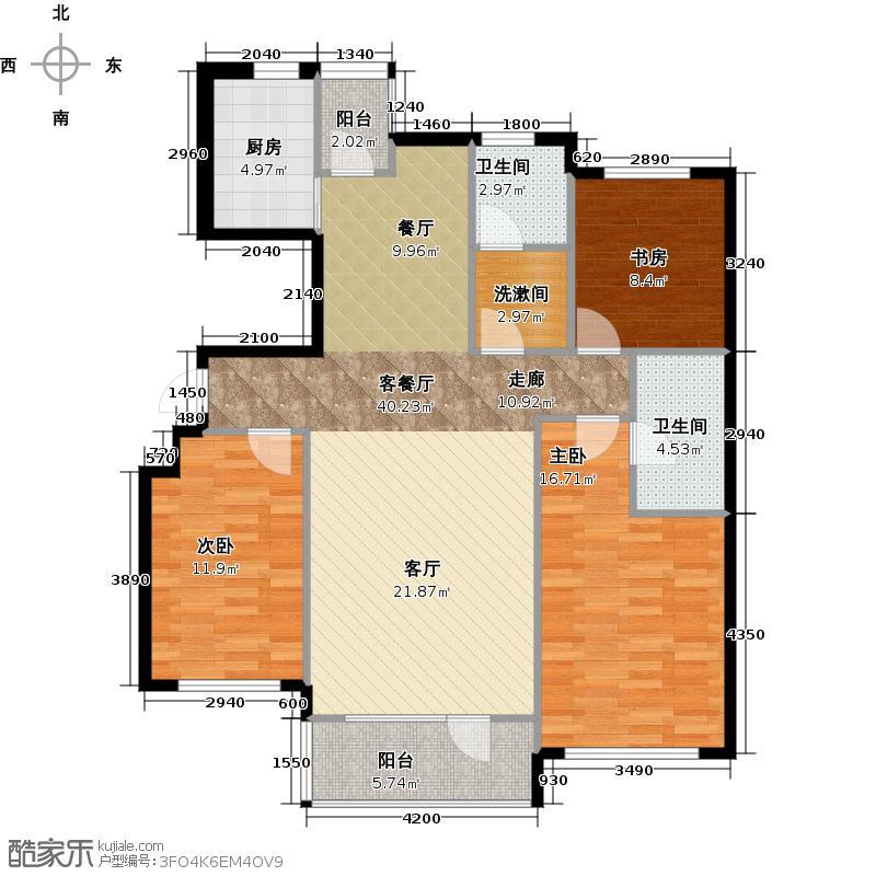红星海世界观120.00㎡岚谷19#小高层B户型3室1厅2卫1厨