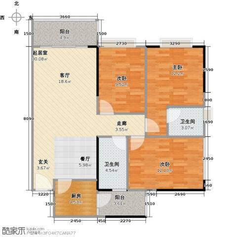 纯水岸3室2厅2卫0厨91.54㎡户型图