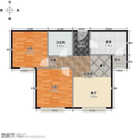 中信府・世家2室2厅1卫0厨80.00㎡户型图