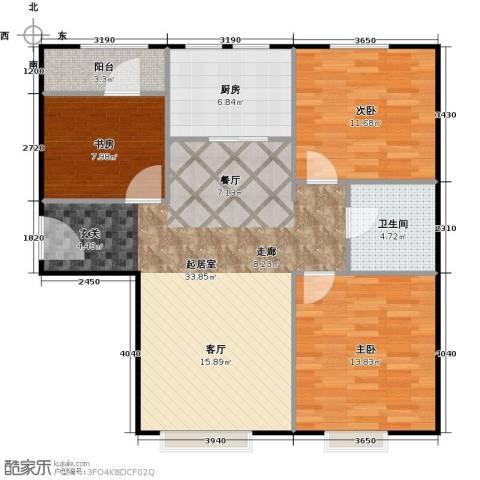 中信府・世家3室2厅1卫0厨87.00㎡户型图