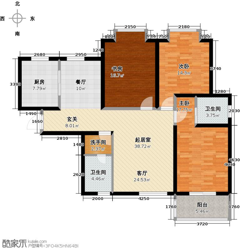海棠花园126.00㎡1#1单元01/4单元04三室户型3室2卫1厨