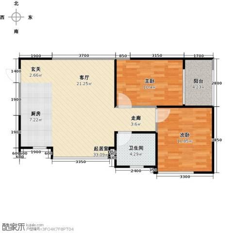 雅居乐云南原乡2室1厅1卫0厨63.86㎡户型图