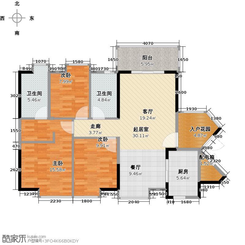 中海誉城112.68㎡橙郡A14栋6-21标准层03单位户型3室2厅2卫