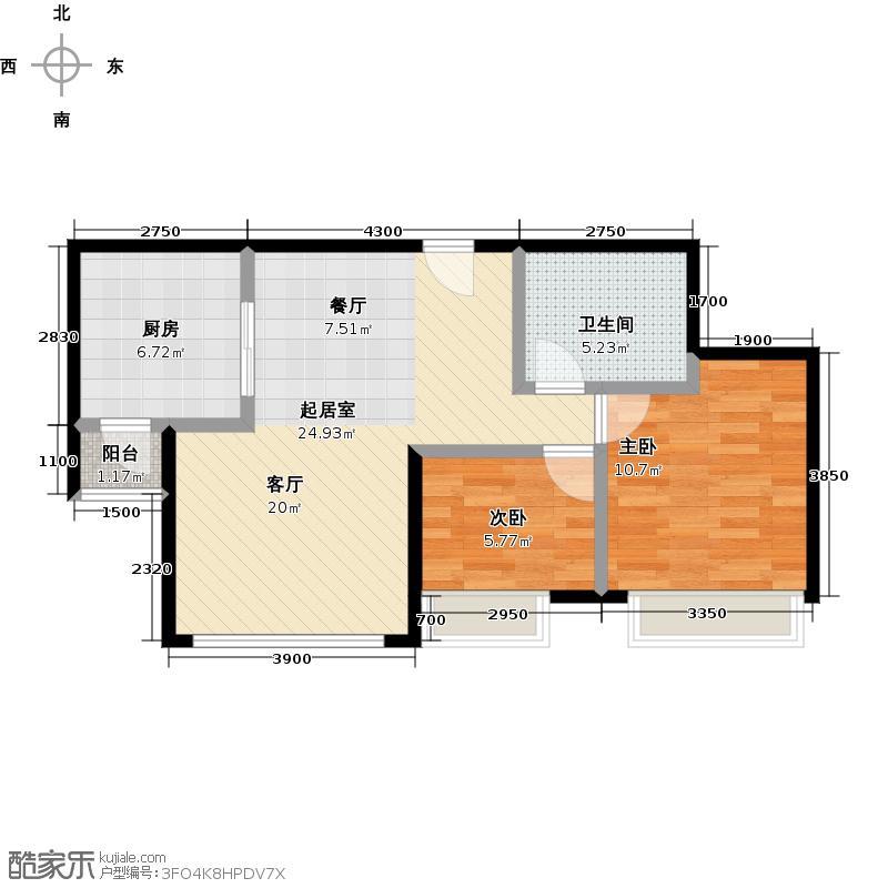 鸿坤・曦望山87.00㎡B3户型2室2厅1卫