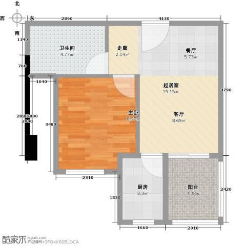黄旗印象1室0厅1卫1厨51.00㎡户型图