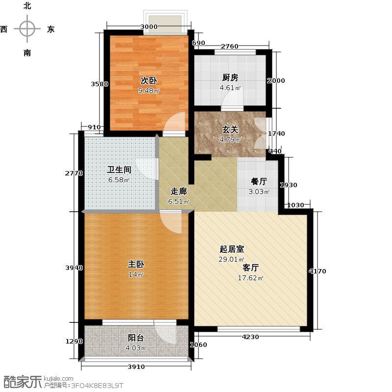 首开・常青藤86.00㎡6-C户型2室2厅1卫