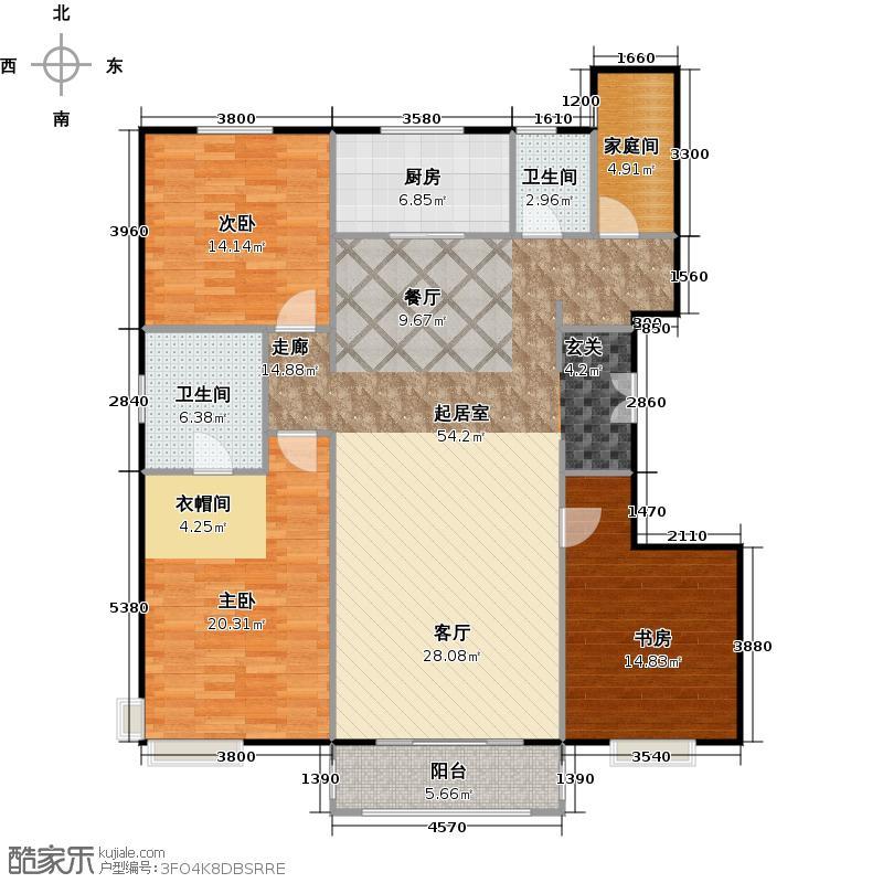 中信府・世家166.00㎡户型3室2厅2卫