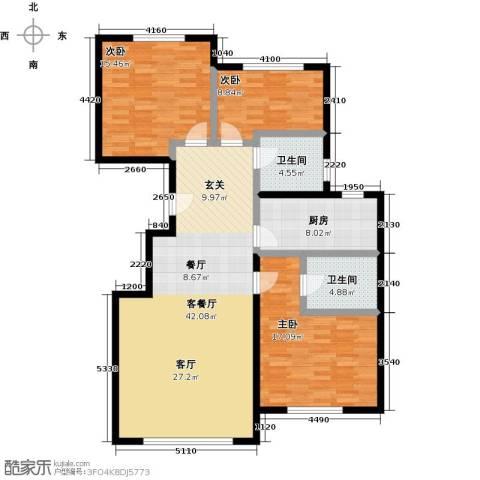 融科钧廷二期3室2厅2卫0厨115.00㎡户型图