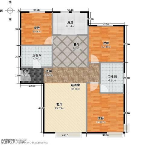 中信府・世家3室2厅2卫0厨124.00㎡户型图