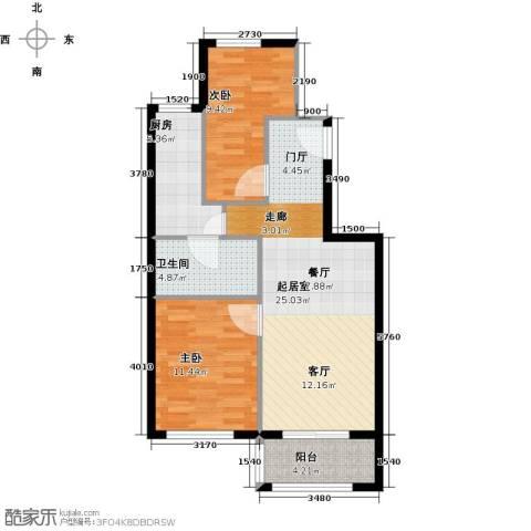 塞纳维拉2室2厅1卫0厨76.00㎡户型图