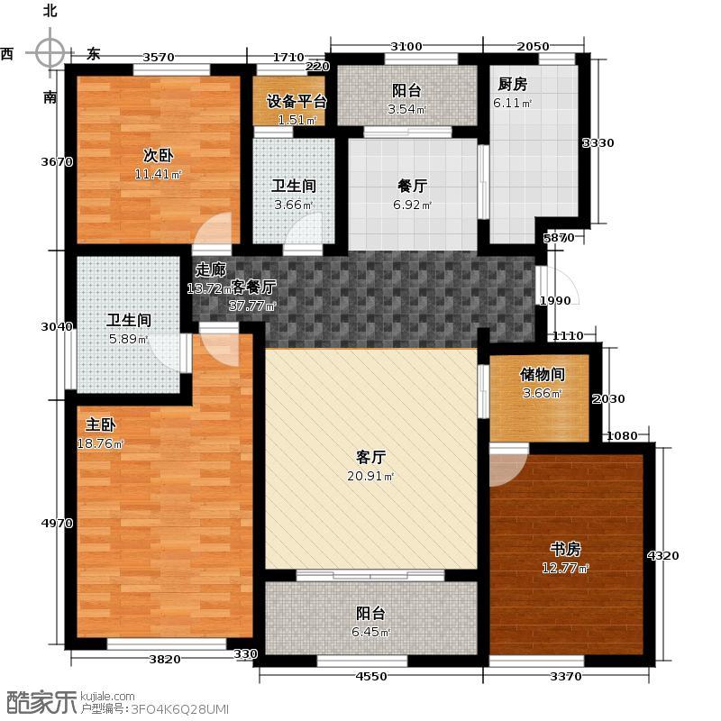 绿城西溪融庄137.00㎡花园洋房A户型3室2厅2卫