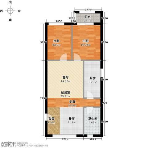 塞纳维拉・永定华庭2室2厅1卫0厨86.00㎡户型图