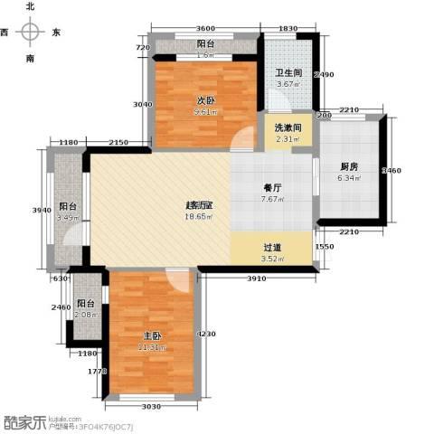 地恒托斯卡纳2室2厅1卫0厨67.59㎡户型图